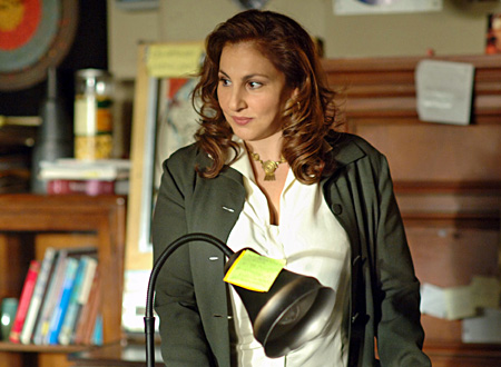 """""""Waste Not"""" -- Kathy Najimy joins the cast in a recurring role as Dr. Mildred """"Millie"""" French, Cal Sci's new department head for physics, math and astronomy,  on NUMB3RS, scheduled to air on the CBS Television Network.    Photo: Ron Jaffe/CBS ©2006 CBS Broadcasting Inc.  All Rights Reserved"""